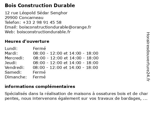 Bois Construction Durable à Concarneau: adresse et heures d'ouverture