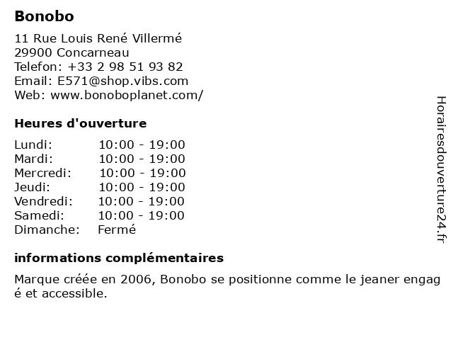 Bonobo à Concarneau: adresse et heures d'ouverture
