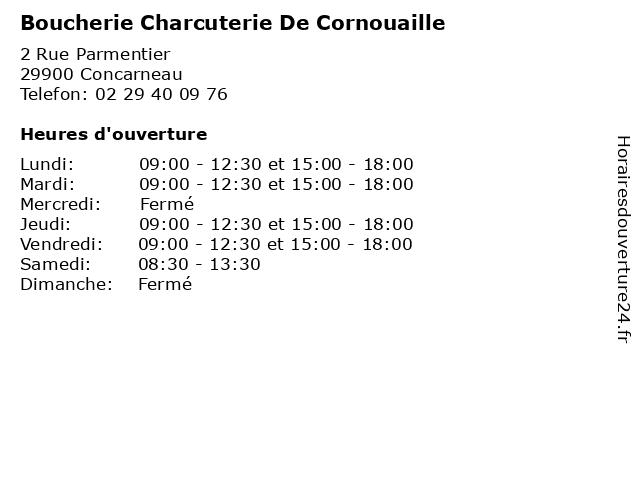 Boucherie Charcuterie De Cornouaille à Concarneau: adresse et heures d'ouverture