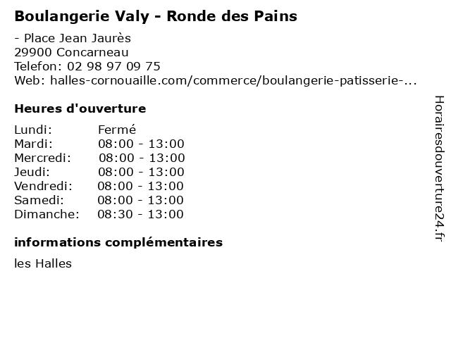 Boulangerie Valy - Ronde des Pains à Concarneau: adresse et heures d'ouverture