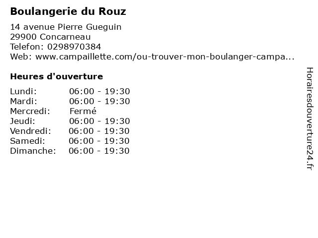 Boulangerie du Rouz à Concarneau: adresse et heures d'ouverture