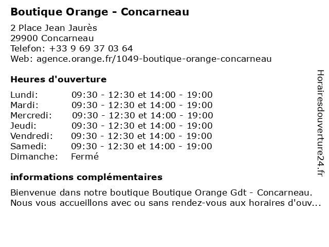 Boutique Orange Gdt - Concarneau à Concarneau: adresse et heures d'ouverture
