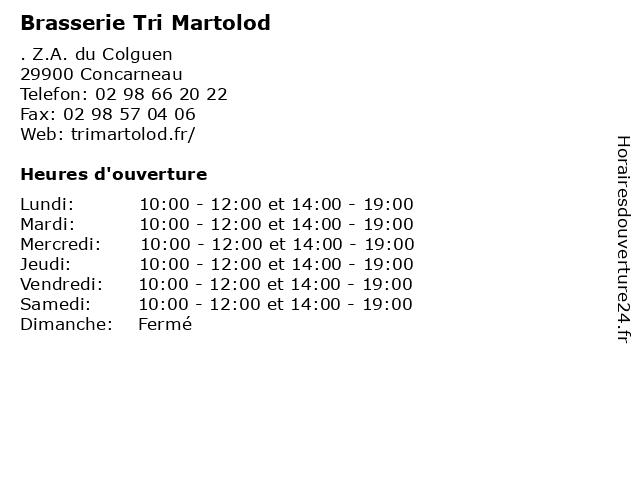 Brasserie Tri Martolod à Concarneau: adresse et heures d'ouverture
