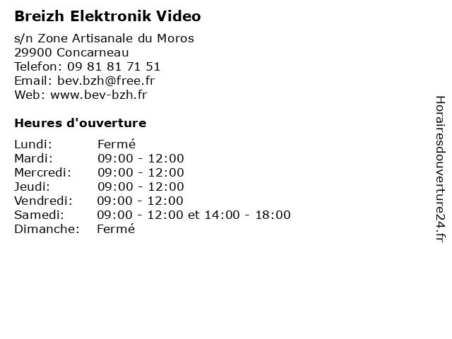 Breizh Elektronik Video à Concarneau: adresse et heures d'ouverture