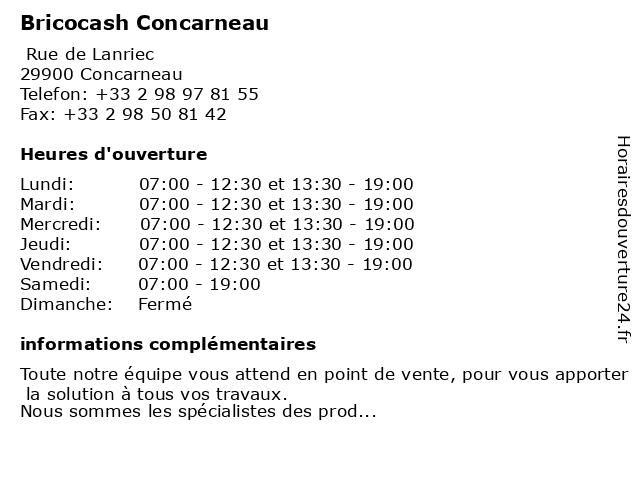 Bricocash Concarneau à Concarneau: adresse et heures d'ouverture