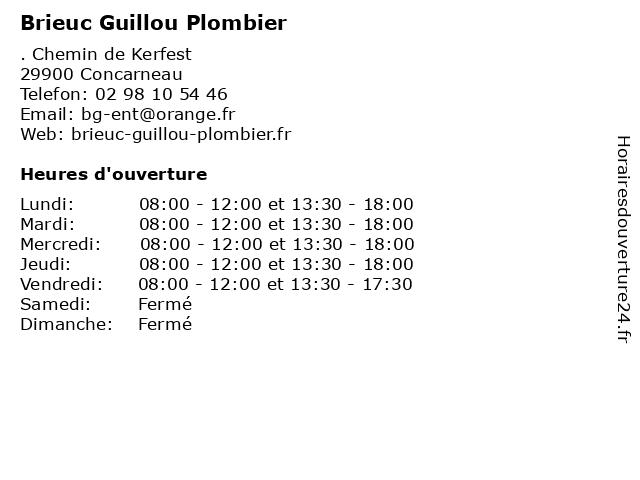 Brieuc Guillou Plombier à Concarneau: adresse et heures d'ouverture