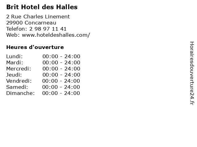 Brit Hotel des Halles à Concarneau: adresse et heures d'ouverture