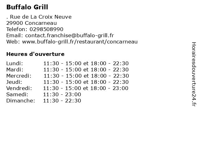 Buffalo Grill à Concarneau: adresse et heures d'ouverture
