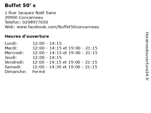 Buffet 50' s à Concarneau: adresse et heures d'ouverture