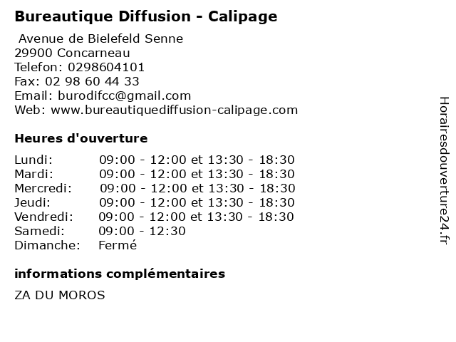 Bureautique Diffusion - Calipage à Concarneau: adresse et heures d'ouverture
