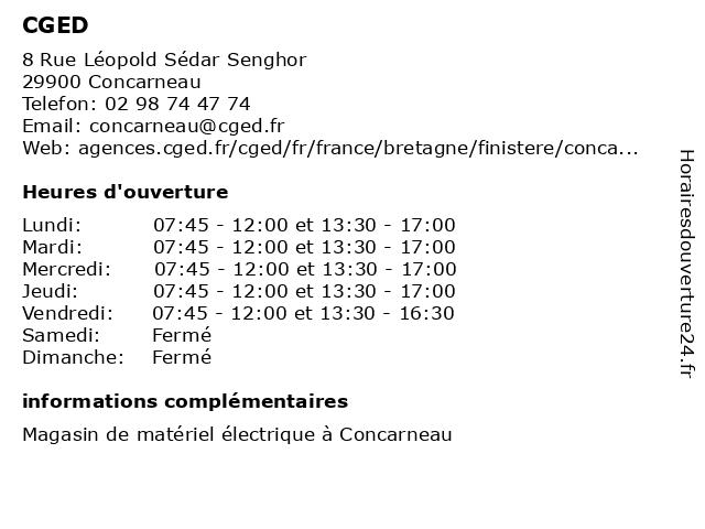 CGED à Concarneau: adresse et heures d'ouverture
