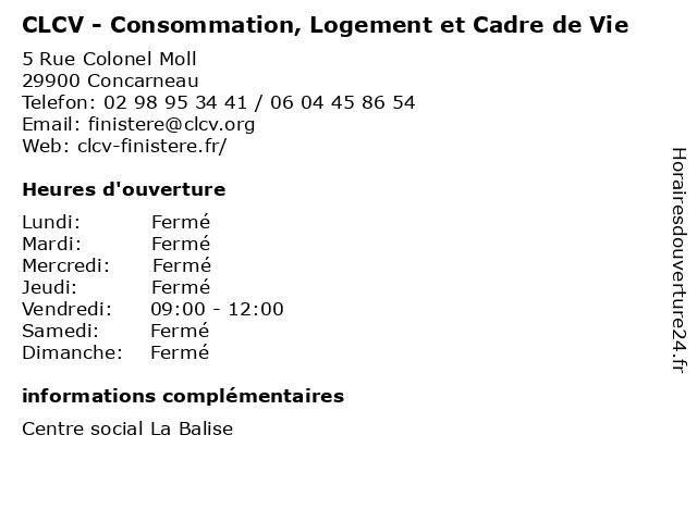CLCV - Consommation, Logement et Cadre de Vie à Concarneau: adresse et heures d'ouverture