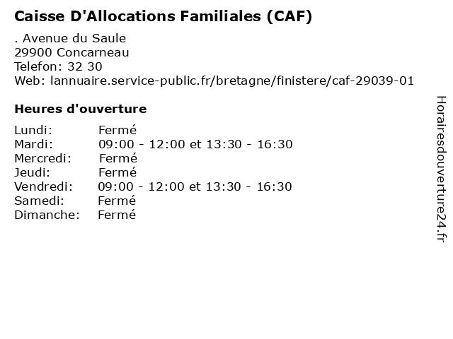 Caisse D'Allocations Familiales à Concarneau: adresse et heures d'ouverture