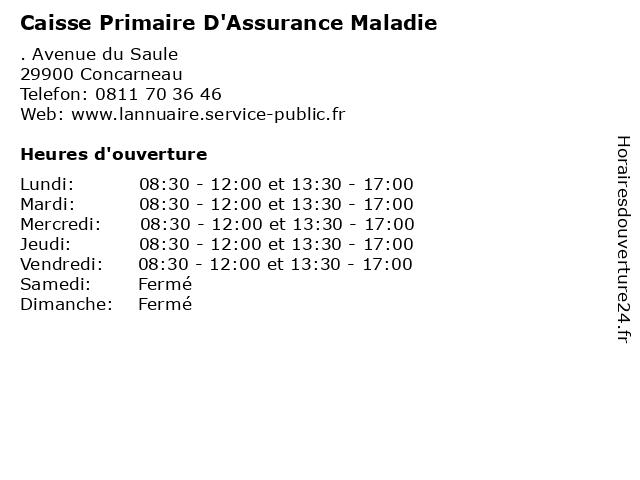 Caisse Primaire D'Assurance Maladie à Concarneau: adresse et heures d'ouverture