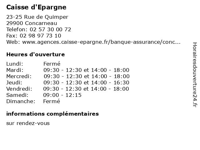 Caisse d'Epargne à Concarneau: adresse et heures d'ouverture