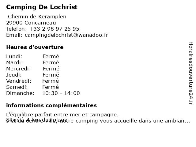 Camping De Lochrist à Concarneau: adresse et heures d'ouverture