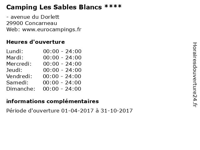 Camping Les Sables Blancs **** à Concarneau: adresse et heures d'ouverture