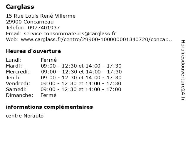Carglass à Concarneau: adresse et heures d'ouverture