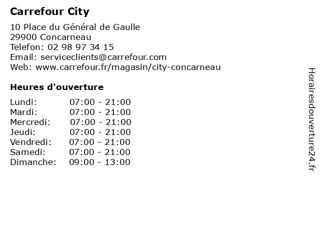Carrefour City à Concarneau: adresse et heures d'ouverture