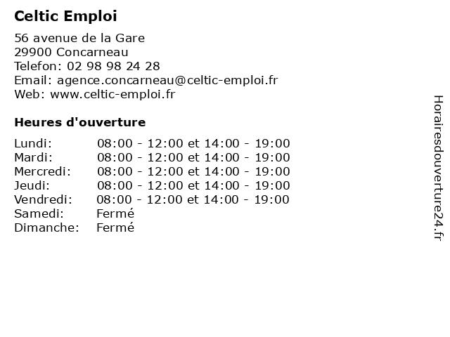 Celtic Emploi à Concarneau: adresse et heures d'ouverture