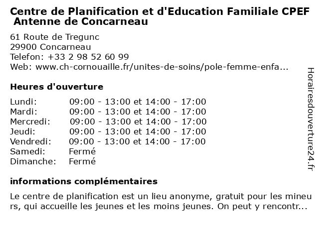 Centre de Planification et d'Education Familiale CPEF Antenne de Concarneau à Concarneau: adresse et heures d'ouverture
