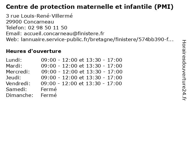 Centre de protection maternelle et infantile (PMI) à Concarneau: adresse et heures d'ouverture