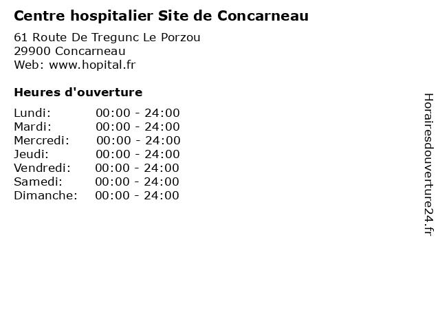 Centre hospitalier Site de Concarneau à Concarneau: adresse et heures d'ouverture