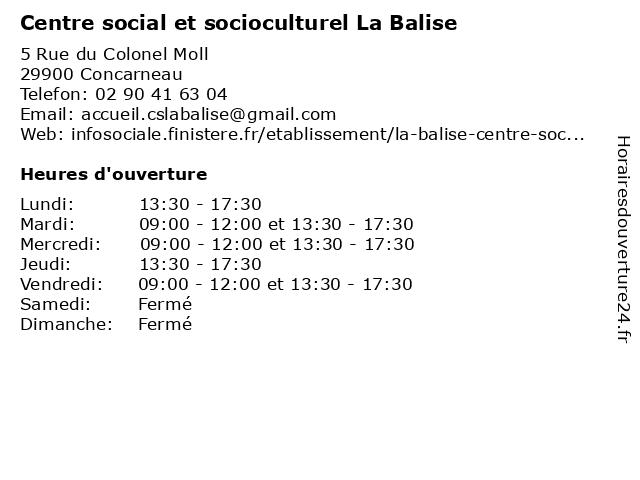 Centre social et socioculturel La Balise à Concarneau: adresse et heures d'ouverture