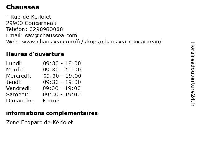 Chaussea à Concarneau: adresse et heures d'ouverture