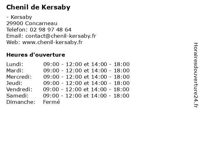 Chenil de Kersaby à Concarneau: adresse et heures d'ouverture