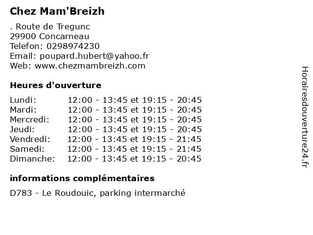 Chez Mam'Breizh à Concarneau: adresse et heures d'ouverture