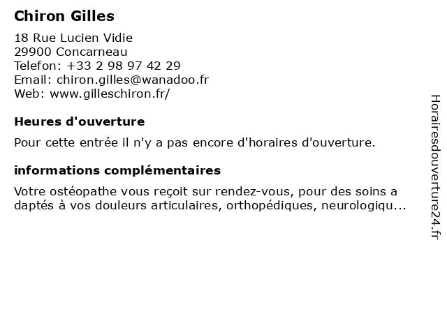 Chiron Gilles à Concarneau: adresse et heures d'ouverture