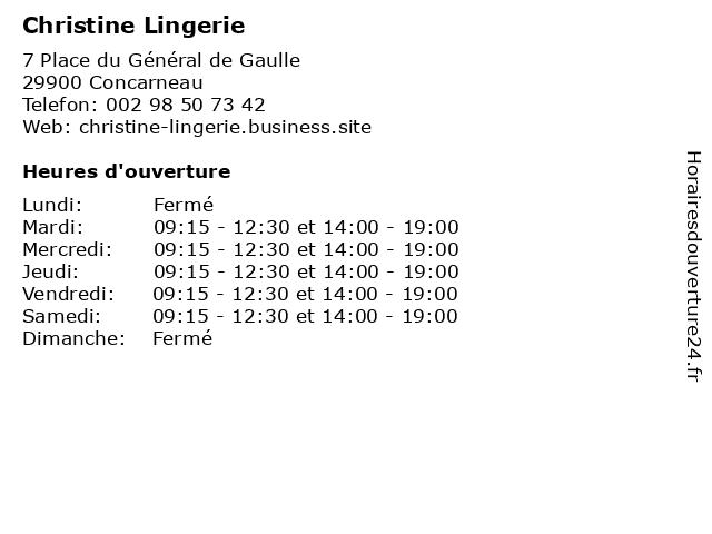 Christine Lingerie à Concarneau: adresse et heures d'ouverture