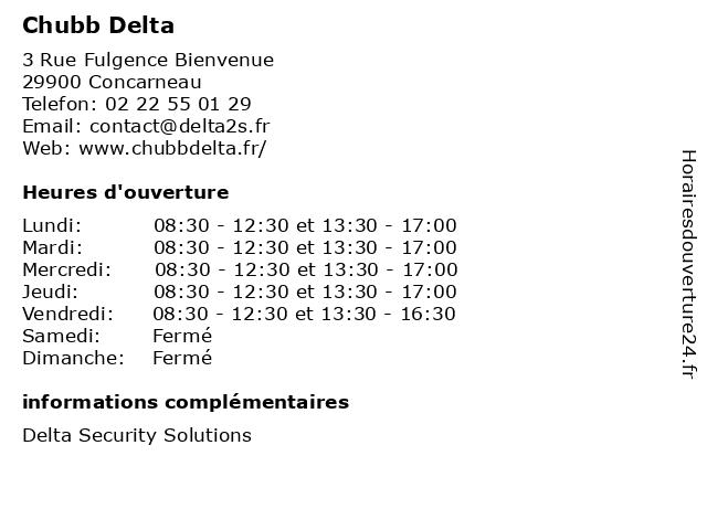 Chubb Delta à Concarneau: adresse et heures d'ouverture