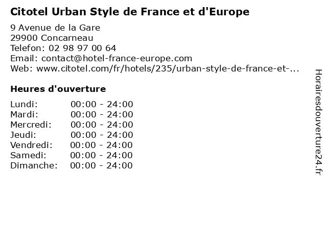 Citotel Urban Style de France et d'Europe à Concarneau: adresse et heures d'ouverture