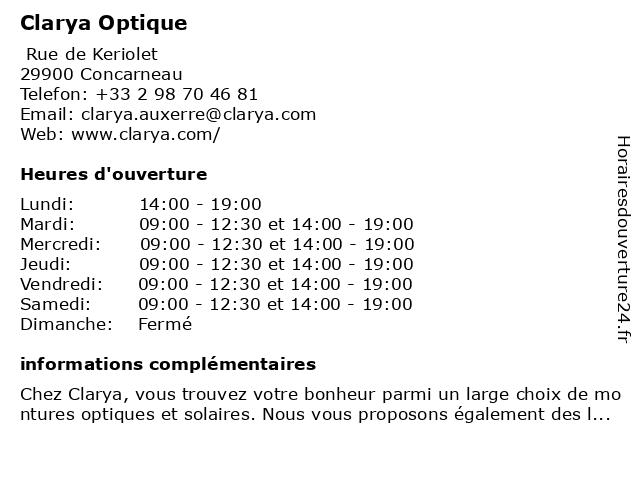 Clarya Optique à Concarneau: adresse et heures d'ouverture