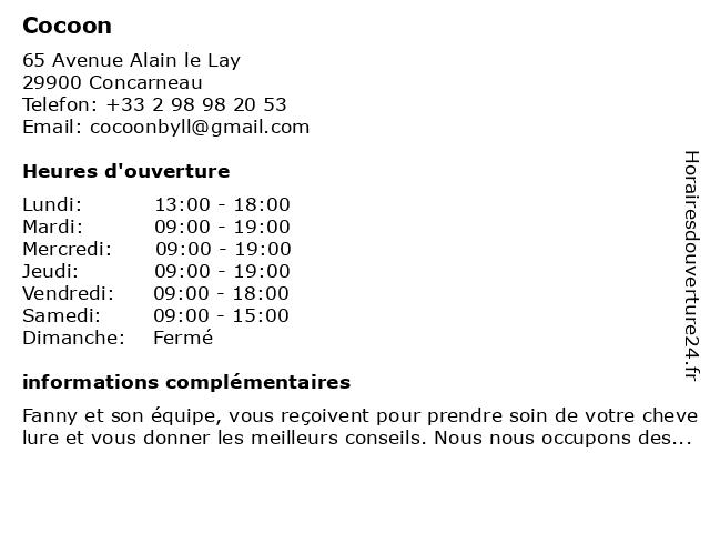 Cocoon à Concarneau: adresse et heures d'ouverture
