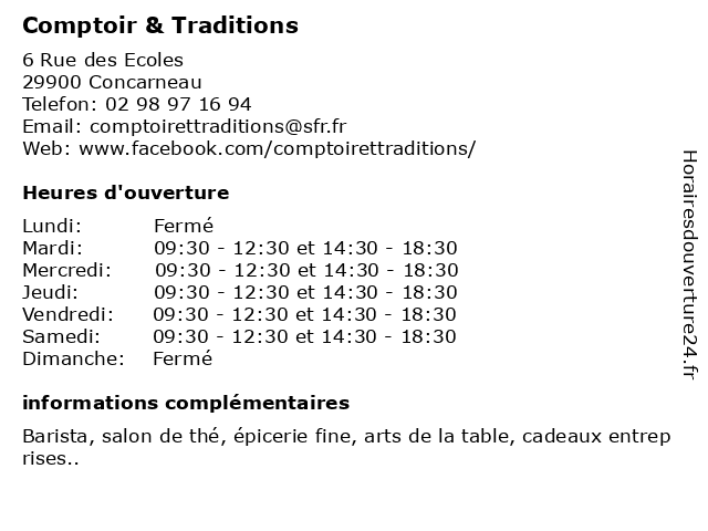 Comptoir & Traditions à Concarneau: adresse et heures d'ouverture