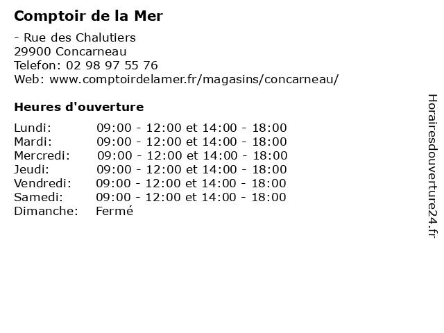 Comptoir de la Mer à Concarneau: adresse et heures d'ouverture
