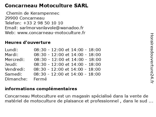 Concarneau Motoculture SARL à Concarneau: adresse et heures d'ouverture