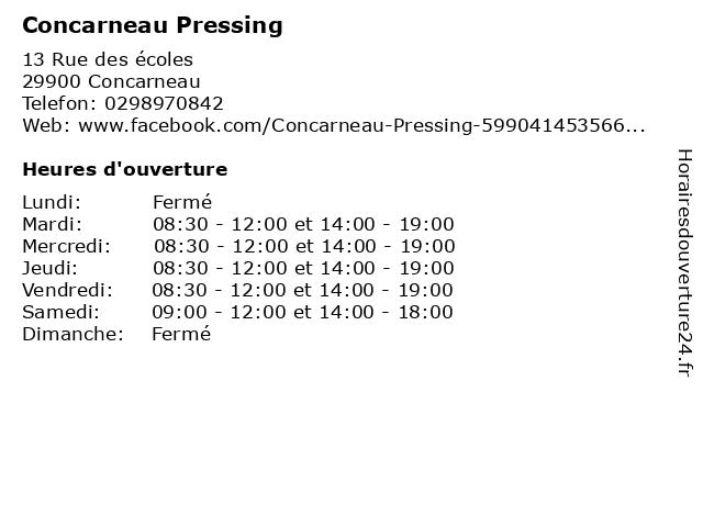 Concarneau Pressing à Concarneau: adresse et heures d'ouverture