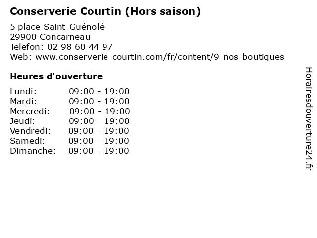 Conserverie Courtin (Hors saison) à Concarneau: adresse et heures d'ouverture