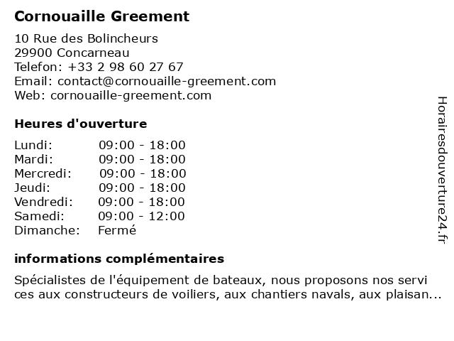 Cornouaille Greement à Concarneau: adresse et heures d'ouverture