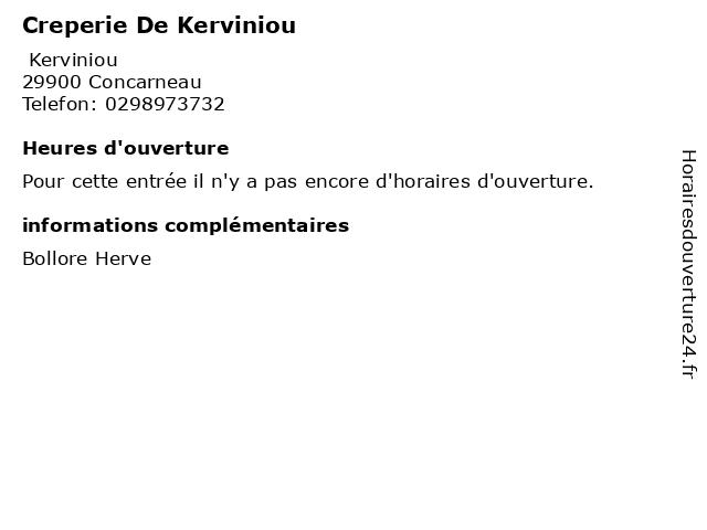 Creperie De Kerviniou à Concarneau: adresse et heures d'ouverture