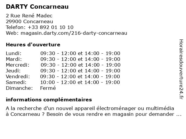 DARTY Concarneau à Concarneau: adresse et heures d'ouverture