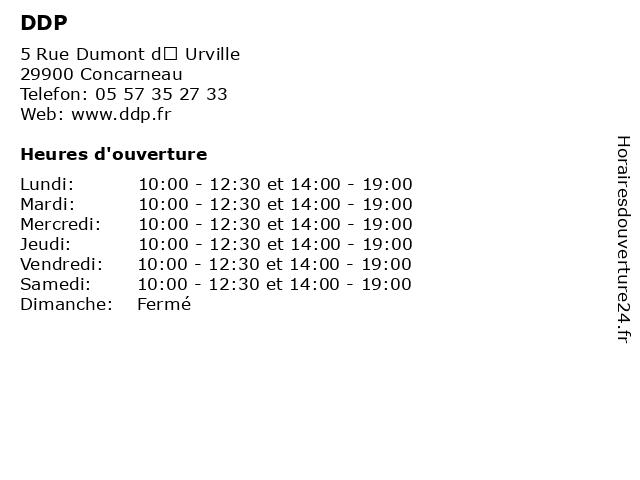 DDP à Concarneau: adresse et heures d'ouverture