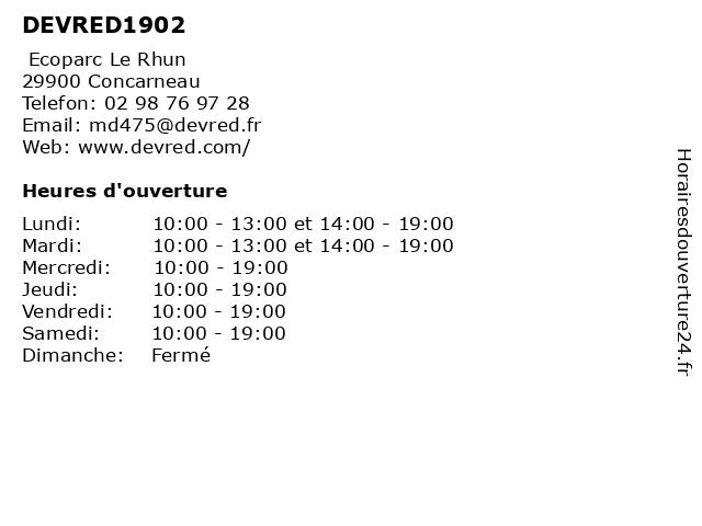 DEVRED1902 à Concarneau: adresse et heures d'ouverture