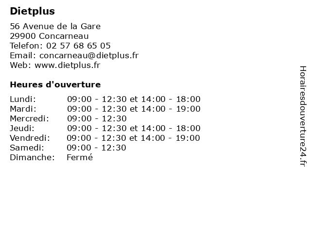 Dietplus à Concarneau: adresse et heures d'ouverture