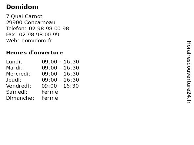 Domidom à Concarneau: adresse et heures d'ouverture