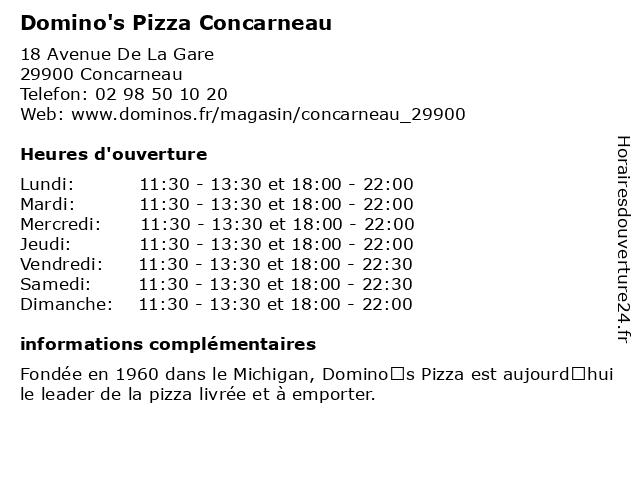 Domino's Pizza Concarneau à Concarneau: adresse et heures d'ouverture
